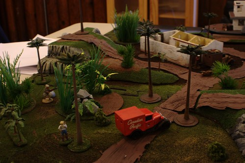 The White Russians, speeding along in their Canadian Pacific-sponsored vehicle, make for the Red Russian starting point.