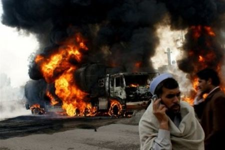 NATO supply lines attacked in Pakistan. The bombing of NATO trucks carrying fuel and equipment to the occupation forces inside the country and in Afghanistan has become more common as the war escalates under the Obama administration. by Pan-African News Wire File Photos