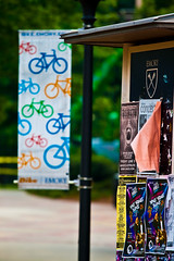 a banner for Bike Emory & a kiosk (by: phr3qu3ncy, creative commons license)