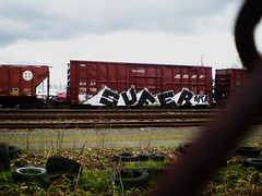 SUFER MTA (SkinnyKidN/W2) Tags: california street railroad blue sky hk white black art clouds oregon burlington train fence bench portland photography graffiti big paint track tag tracks overcast rr tags tires rails huge mta pdx boxcar fe northern mateo freight bnsf 503 sufer tko sante vrs ttx hod fr8 vts gime gimer e2e benching end2end nasty93cc 729196