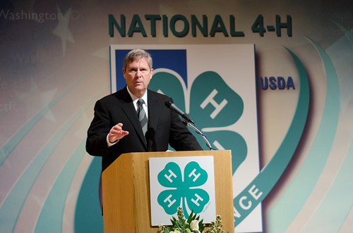 U.S. Department of Agriculture (USDA) Secretary Tom Vilsack spoke with approximately 300 youth from 47 states or territories and Canada at the National 4-H Conference on Tuesday, April 5, 2011 in Washington, DC. The conference is the premier youth development opportunity of the USDA. Aged between 15-19 years old the attendees were selected=
