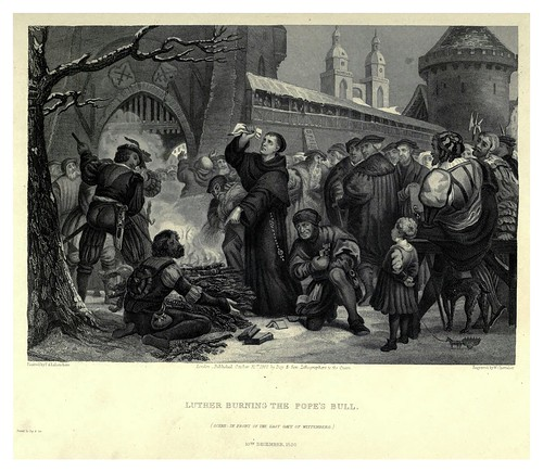 007-Lutero quema la bula papal-Illustrations of the life of Martin Luther 1862- Pierre Antoine Labouchère