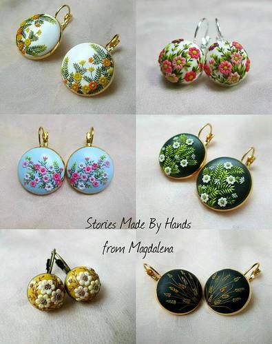 Handmade Polymer Clay Emboidery / Filigree / Applique Jewelry