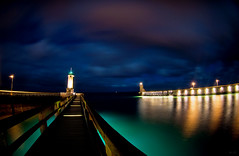 Outpost /  (Boris Kukushkin) Tags: ocean sky lighthouse france night clouds reflections lights ship streetlights    fecamp