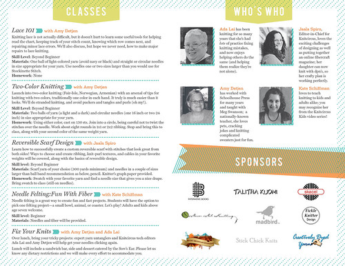 Knitcircus Spring Retreat Brochure - Inside