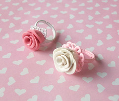 Romantic Rose Rings (Cantankerous Cupcake) Tags: rose jewelry ring polymerclay