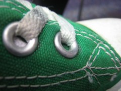 Day 005 (The Classy Kat) Tags: macro green shoe converse stitching 365 eyelets shoelaces day005 2011