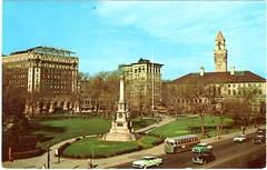Postcard 158-Front (heytampa) Tags: park statue vintage ma downtown cityhall massachusetts postcard mass common worcester frontstreet parkbuilding hotelbancroft