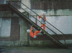 The Great Escape (Tanner Almon) Tags: abandoned film stairs costume factory fuji maryland mini staircase instant tanner furball almon whimsical instax ellicotcity furballs instantfilm cheki fujiinstaxmini tanneralmon checki55 mymomreviewsmyphotos