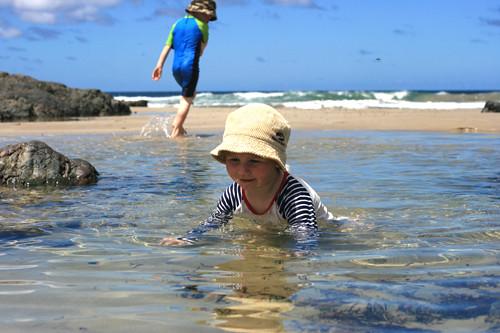enjoying the warm water