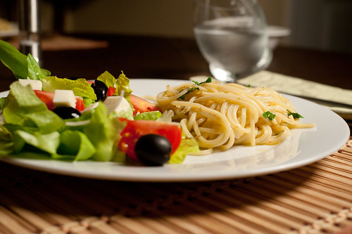 Pasta Aglio y Olio and Salad