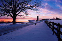 Winter sunset 2011 (J-Parkes) Tags: road winter sunset tree fence pentax pennsylvania farm country silo pa clarion da1855 k200d cloudsstormssunsetssunrises