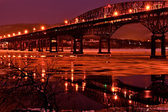 Bridge Lights over the Icy Hudson River - in Explore, Front Page (SunnyDazzled) Tags: longexposure nightphotography bridge red newyork color night reflections river lowlight purple sparkle hudson beacon newburgh newburghbeacon
