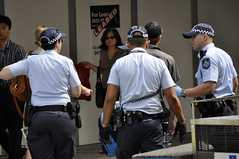 Street arrest (Roving I) Tags: streets caps police australia brisbane rubbergloves lawenforcement arrests leathergloves
