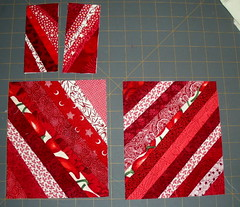 trimmed red string blocks