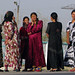 Colourful Uzbek women at petrol stop