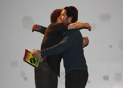 Jon Glaser and Paul Rudd hug