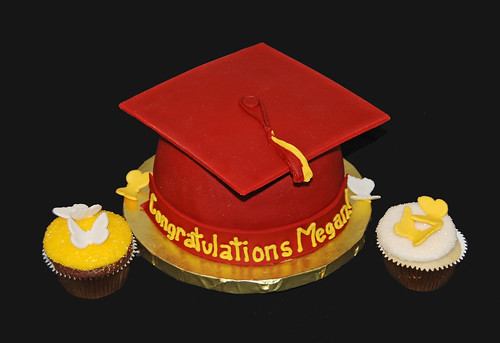 graduation cupcake tower butterfly glitter cupcakes and graduation hat topper for ASU graduate