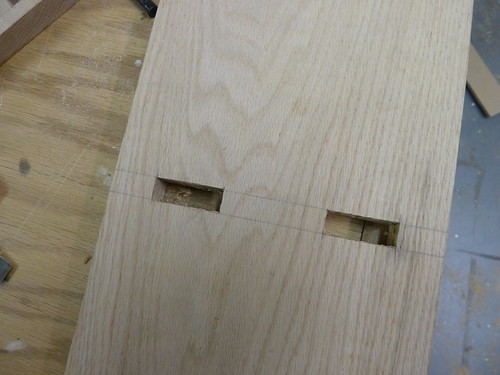 cut mortises in oak