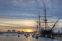 HMS Warrior Sunset - Portsmouth Harbour (yorkshire stacked) Tags: sunset sea water port boats nikon ship waterfront harbour nikond50 deck portsmouth hdr hmswarrior