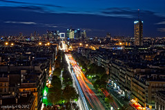 The Road to La Defense / Grande Arche / Paris (zzapback) Tags: road city blue light panorama paris france architecture modern night de photography 50mm lights evening grande nikon long exposure cityscape fotografie traf