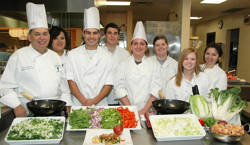 Students in Wendy McCuiston's culinary arts class at Smithson Valley High School pose with Chartwells Executive Chef Ralph Garcia. Left to right are: Claudia Hernandez, Adam Alonso, Carlo Antoniolli, Amy Baker, Shelby Myrick, Caitlin Spring. Garcia was on campus as part of the Chefs Move to Schools program.