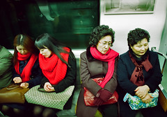 the commute (semantics aside (travelling)) Tags: 35mm underground subway asia streetphotography seoul 24mm nikkor southkorea ai thecommute nikonfe2 portra800