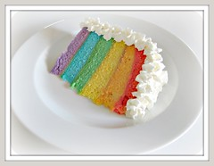 rainbow cake (Pinks & Needles (used to be Gigi & Big Red)) Tags: birthday old 6 colors cake breakfast happy baking rainbow colorful 5 4 young pudding 8 sugar explore layers vanilla 1970 29 frosting equality 65 41 baked breakfastofchampions rainbowcake rainbowcakeslice