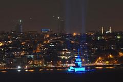 İstanBlue * Cancanlı Kız Kulesi (Maidens Tower) (Yavuz Alper) Tags: zoom istanbul mavi lazer gece kız kulesi dolunay şubat gösteri ışıklandırma şov d7000