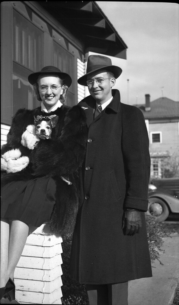 1940s Spencer - Frances Irene Spencer and Kenneth Lee Ekwall with a Boston Terrier