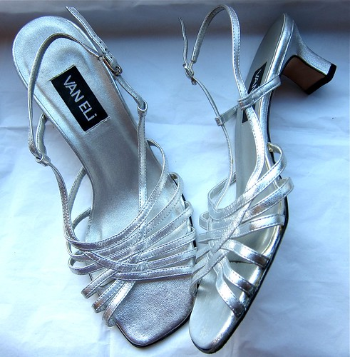 ebayed: Strappy Silver Van Eli Almost-Wedding Sandals
