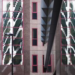 reflection, reflection, reflection (Cosimo Matteini) Tags: city windows reflection building london lines stone architecture pen 50mm mirror olympus lamppost f18 moorgate zuiko cityoflondon m43 squaremile mft epl1 cosimomatteini