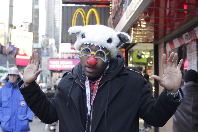 Young man in Times Square