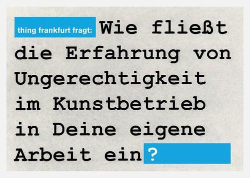 Thing Frankfurt Postkarte zur Ungerechtigkeit im Kunstbetrieb