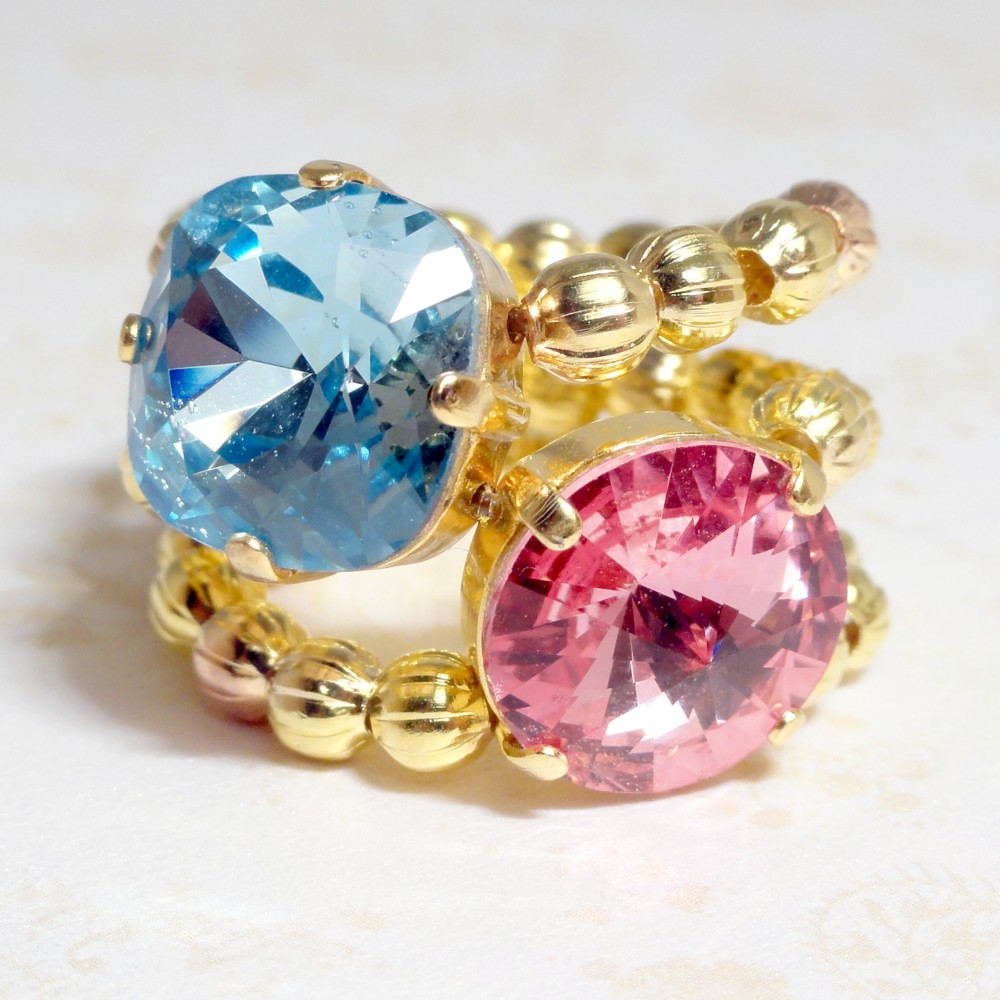 Stretchy Ring - Swarovski Crystal Blue and Pink - Belle Bijoux