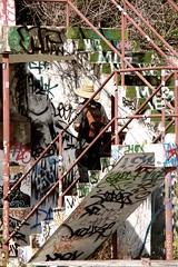 Man Decending Stair (Burnt Umber) Tags: urban man hat stairs walking stair florida miami steps dude explore backpack railing ue urbex allrightsreserved flurbex rpilla001