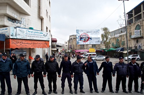 Palestinian police block international + Palestinian protesters in Hebron