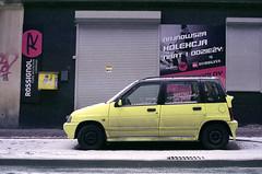 Vivid colors. (wojszyca) Tags: auto green car zeiss t fuji small poland contax carl daewoo epson g2 expired katowice 45mm tico hoya planar 245 nph400 4990 81a