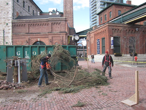 Toronto distillery district and the holiday season 2011 has come to end and the christimas tree is finished in februrary