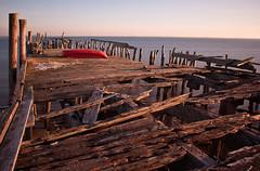 Old Boat, Older Pier (Wanderjahr) Tags: ocean old beach water canon pier boat outdoor