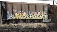 WEEDHEADS (BLACK VOMIT) Tags: sign train graffiti ol weed no south property dirty richmond mc dos crew va heads coal d30 mayhem freight trespassing wh csx lyes e2e aest aest2 weedheads