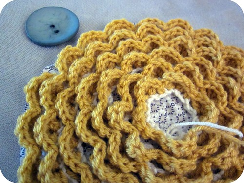 Crocheted Rosette Pillow 011