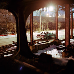 Spotlight (Daniel Regner) Tags: camera old city railroad 120 film buses night analog speed vintage dark photography star model focus long exposure kodak daniel c release trails charles cable baltimore falls iso railcar 1950s transit shutter depot traincar series 100 manual asa february yashica hampden rd decaying emulsion ektar 2011 regner fallsway releae