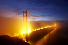 The Golden Gate Bridge (wrapped in fog) (photofanman) Tags: sanfrancisco california bridge blue stars golden twilight gate long exposure goldengatebridge hour