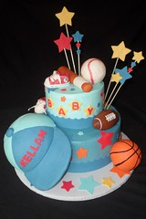 "Sports baby shower cake • <a style=""font-size:0.8em;"" href=""http://www.flickr.com/photos/60584691@N02/5525360922/"" target=""_blank"">View on Flickr</a>"