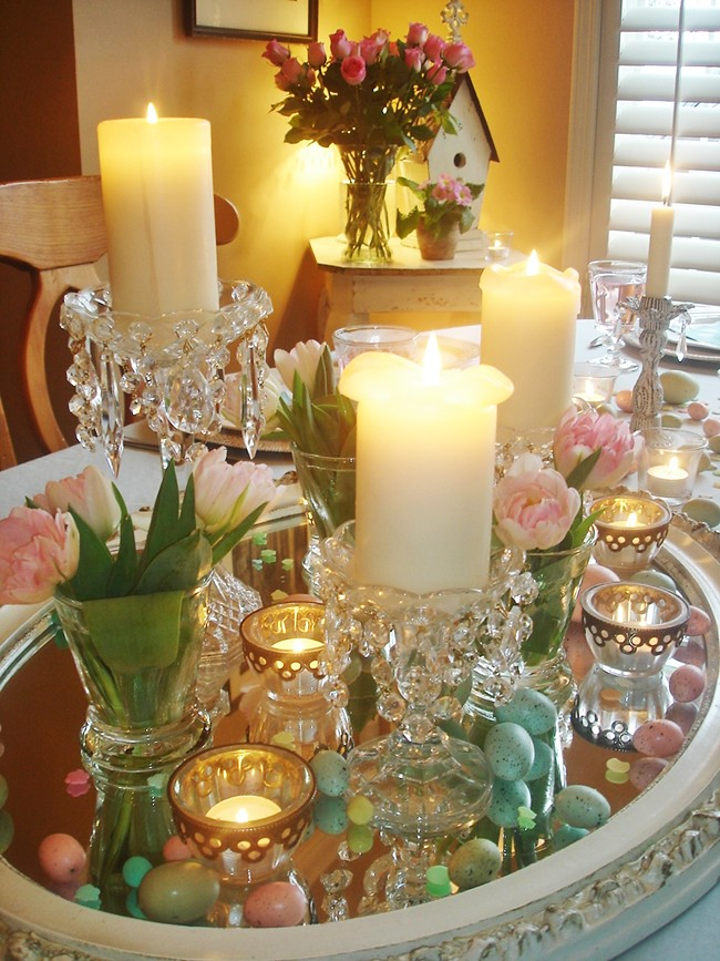 Vintage Wall Mirror Easter Table Centerpiece