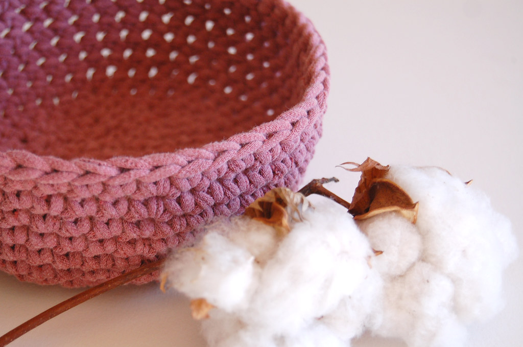 Raspberry Crochet Bowl - Recycled T-Shirt Yarn