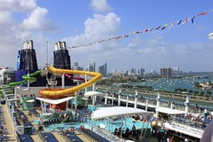 Norwegian Epic - Western Caribbean Cruise (oxfordblues84) Tags: cruise blue sky skyline clouds ship skyscrapers miami epic deckchairs ncl norwegianepic