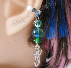 Blue, Green and Silver Cartilage Ear Cuff - Water Goddess