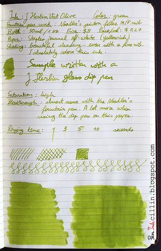 J Herbin Vert Olive ink review on Staples journal